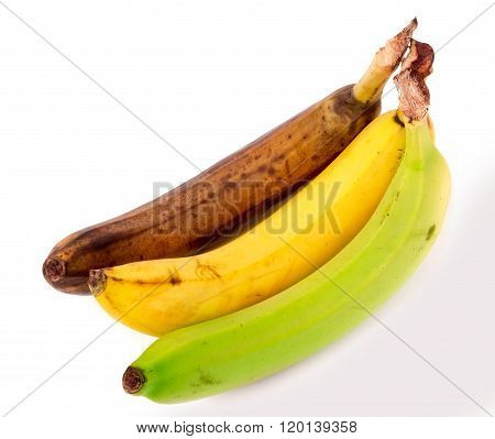 rotten yellow and green banana isolated on white background