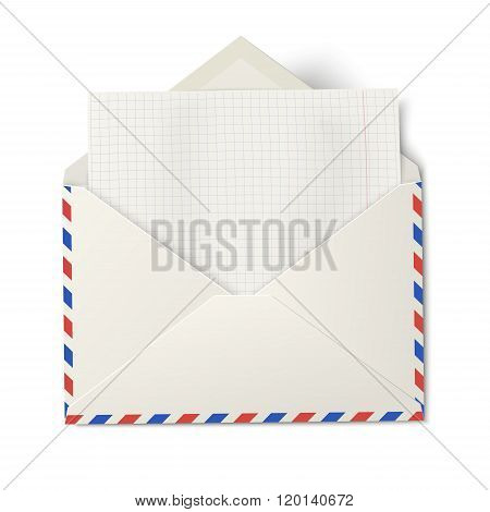 Opened air mail envelope with white sheet of squared paper inside