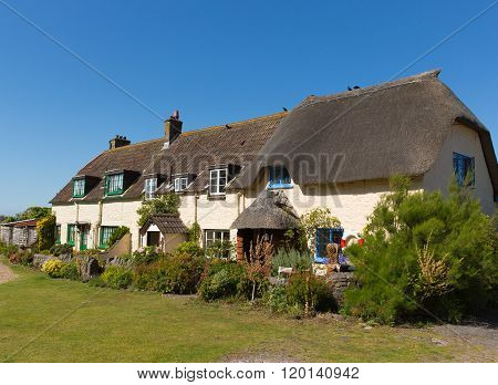 Coast cottages Porlock Weir coastal village Somerset England UK near Exmoor Heritage