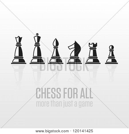 Chess pieces on a gray background.
