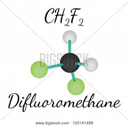 CH2F2 difluoromethane molecule