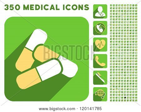 Pills Icon and Medical Longshadow Icon Set