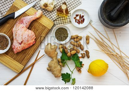Raw Chicken Leg With Ingredients From Above, Cooking Asian Satay With Peanut Sauce