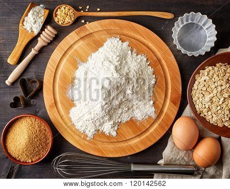 Baking Background With Flour, Eggs And Tools