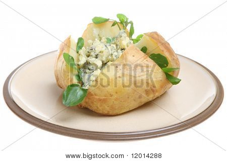 Jacket potato with Stilton cheese and watercress.