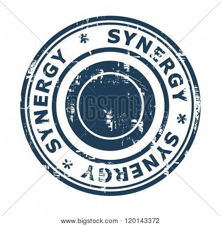 Business synergy concept stamp isolated on a white background.