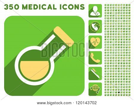 Retort Icon and Medical Longshadow Icon Set