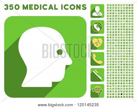 Silent Head Icon and Medical Longshadow Icon Set
