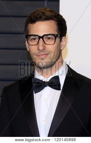 LOS ANGELES - FEB 28:  Andy Samberg at the 2016 Vanity Fair Oscar Party at the Wallis Annenberg Center for the Performing Arts on February 28, 2016 in Beverly Hills, CA