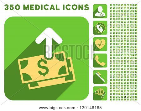 Spend Money Icon and Medical Longshadow Icon Set