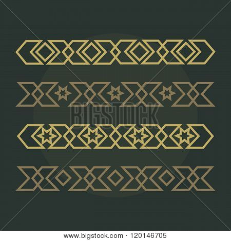Islamic ornamental borders. Arabic pattern. Arabic pattern set. Islamic ornament. Islamic repeat des
