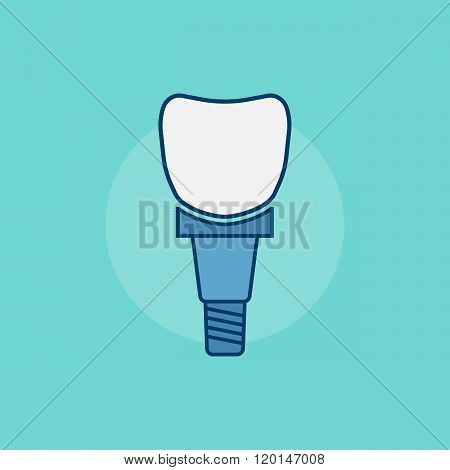 Tooth implant sign. Tooth implant vector symbol. Tooth implant in flat style. Tooth implant isolated