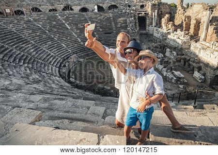 Family Vacation Selfie Photo In Antique Amphitheater Ruins In Side, Turkey