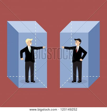 Two Angry Businessman In The Box Are Shouting On Each Other