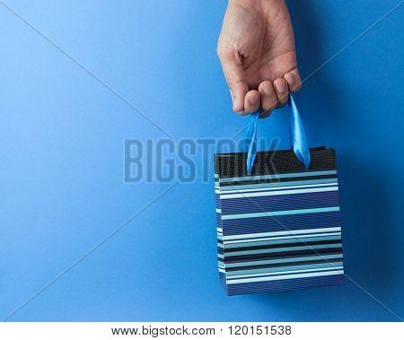 Blue Striped Gift Bag