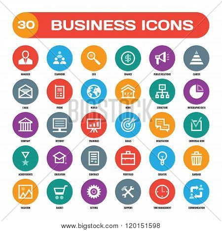 30 business creative vector icons in flat style for material design projects. Business vector icons