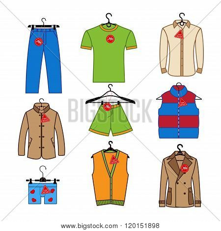 Set of vector icons of men's clothes