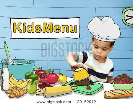 Kids Menu Cooking Child Culinary Food Concept