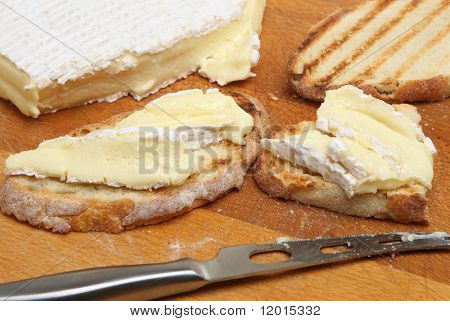 Brie on rustic toasted bread.