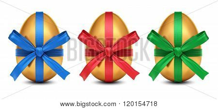 Collection Of 3D Golden Easter Eggs With Colorful Ribbon Bows