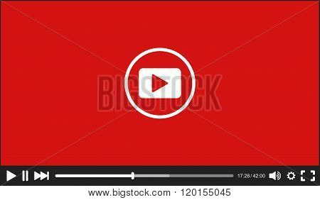 Modern flat Video Player interface for Web. Vector Illustration