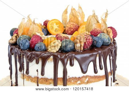 Birthday Naked Cake Decorated With Fruits