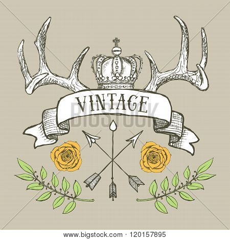 Vintage Poster With Crown And Antlers