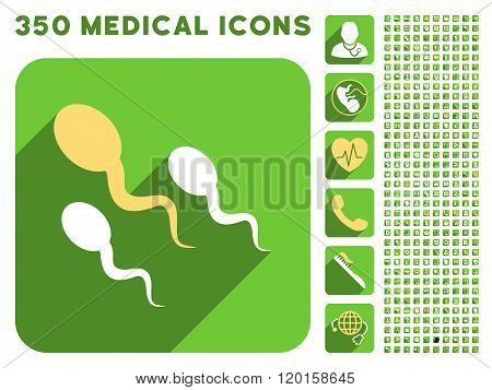 Sperm Icon and Medical Longshadow Icon Set