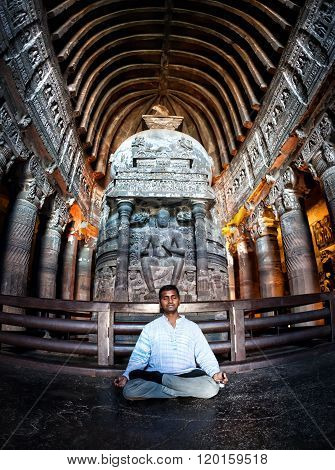 Meditation In Ajanta Caves In India