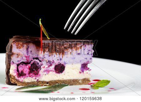 Raw Vegan Cake With Fork