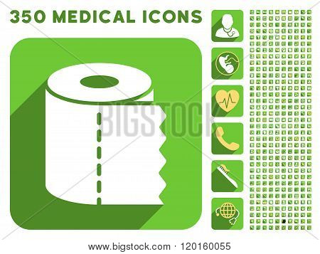 Toilet Paper Roll Flat Icon And Medical Longshadow Flat Icons