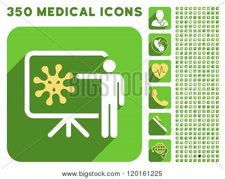 Virus Lecture Icon and Medical Longshadow Icon Set