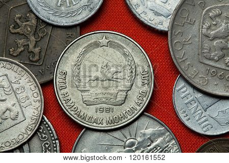 Coins of Communist Mongolia. Coat of arms of the Mongolian People's Republic depicted in the Mongolian 15 mongo coin (1981).