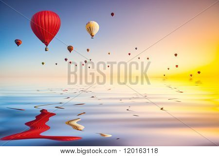 hot air balloons in blue sky flying over water surface