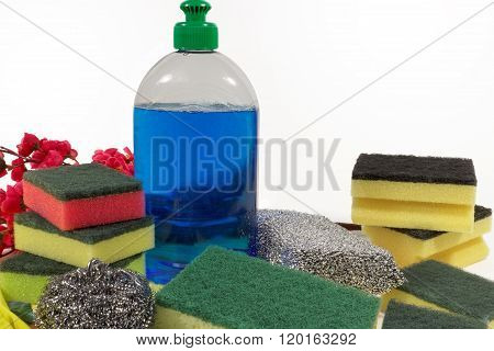 Unused sponges and detergent for washing dishes