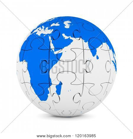 Globe from puzzle on white background. Isolated 3D image