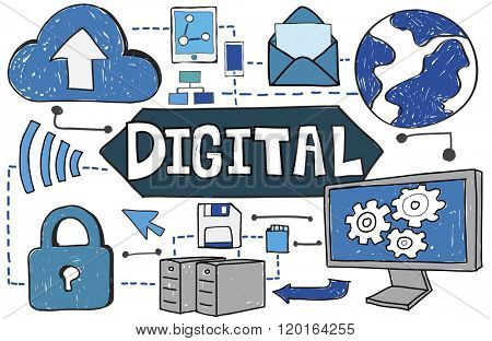 Digital TEchnology Share Data Internet Concept
