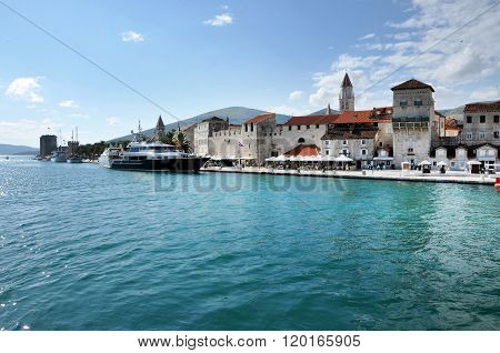 Luxury Yacht In The Harbor Of Trogir, Croatia