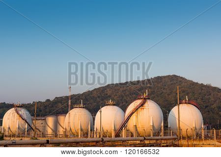 Petrochemical Spherical Tank On Twilight.