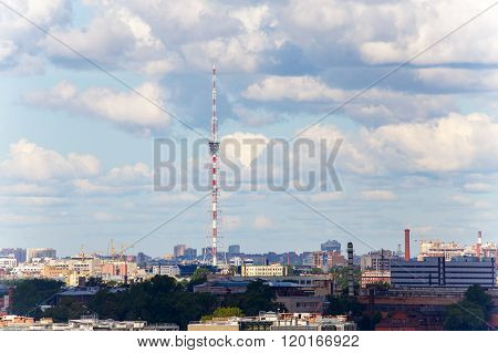 Saint-Petersburg, Russia - August 05, 2015: Urban Scape Of Tv Tower