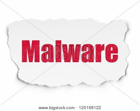 Safety concept: Malware on Torn Paper background