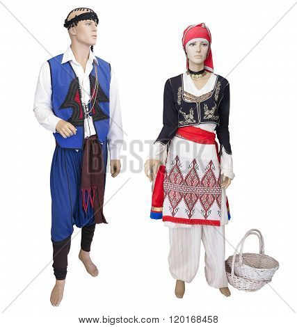 Greek Cretan National Man And Woman Clothes Costume On Mannequin Isolated Over White