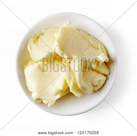 Bowl Of Butter On White Background