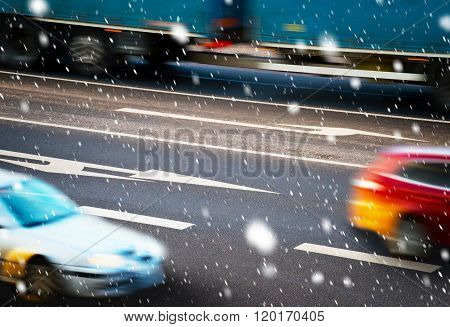 Cars Going Along The Crossroads  In The Bad Weather