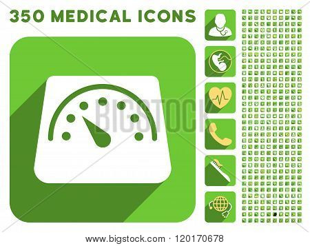 Floor Weight Meter Icon and Medical Longshadow Icon Set