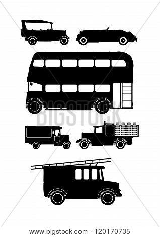 Vintage Vehicle Silhouettes