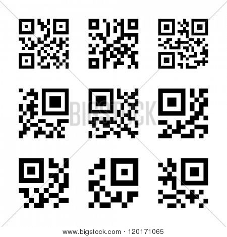 Simplified QR code icon set. Vector illustration