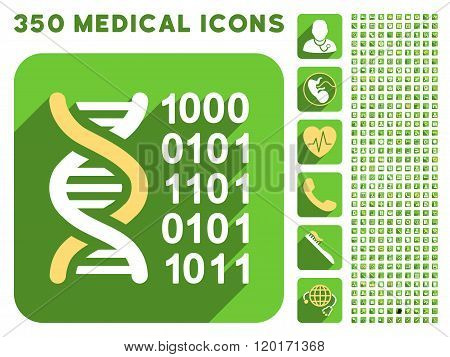 Genetical Code Icon and Medical Longshadow Icon Set