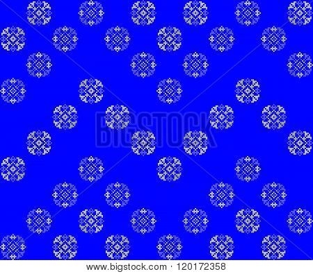 Seamless Texture With Blue Ornaments