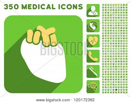 Heart Organ Icon and Medical Longshadow Icon Set